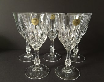 Vintage Crystal Water Goblets Capri Italian Crystal Stemmed Water Glasses Elegant Crystal Wedding Gift & Crystal wedding gift   Etsy