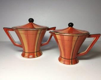Vintage Japan Porcelain Sugar / Creamer Set...Orange / Black Art Deco Design Porcelain...Modernist Sugar & Creamer...Handpainted Design...
