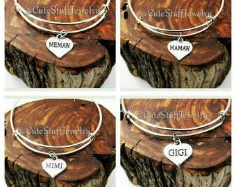 Memaw Bracelet, Memaw Bangle, Mamaw Bracelet, Mimi Bracelet, Gigi Bracelet, Handmade Memaw Jewelry, Family Bangle Bracelet