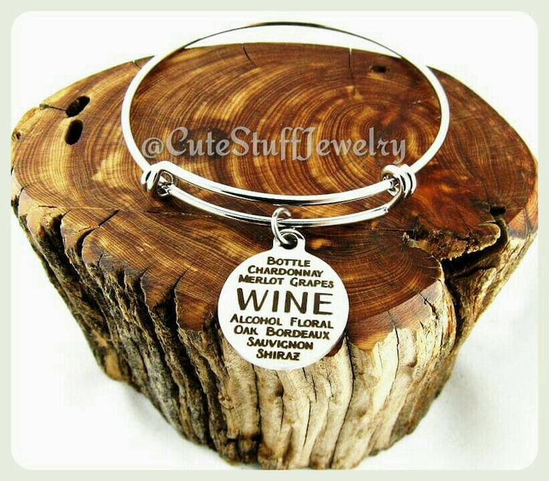 Wine Lover Bracelet Wine Connoisseur Bracelet Types of Wine image 0
