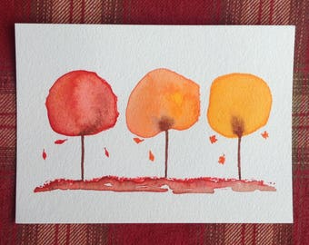 Watercolor Trees Painting, Fall decor, Fall Trees Art, Small Art, Thanksgiving Decor, Original art 5x7, Original Watercolor, Minimalist art