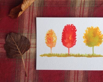 Fall Trees Art, Fall decor, Small Painting, Autumn Trees Painting, Thanksgiving Decor, Original art 5x7, Original Watercolor, Minimalist art