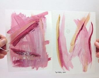 Pink Abstract Art, Acrylic Paintings Original, Original Abstract Artwork, Abstract Painting 5x7, Gold Pink Art, Small Pink Abstract Art,