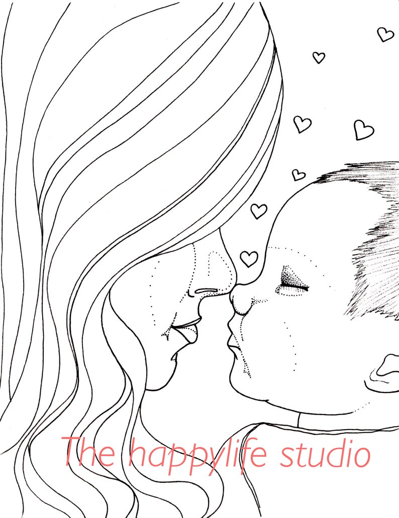 Mom and Baby Coloring Page New Mom Coloring Pregnancy | Etsy