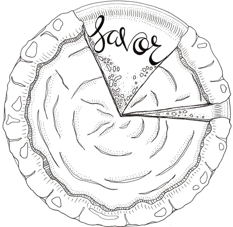 Pumpkin Pie Coloring Page Thanksgiving Coloring Page Adult