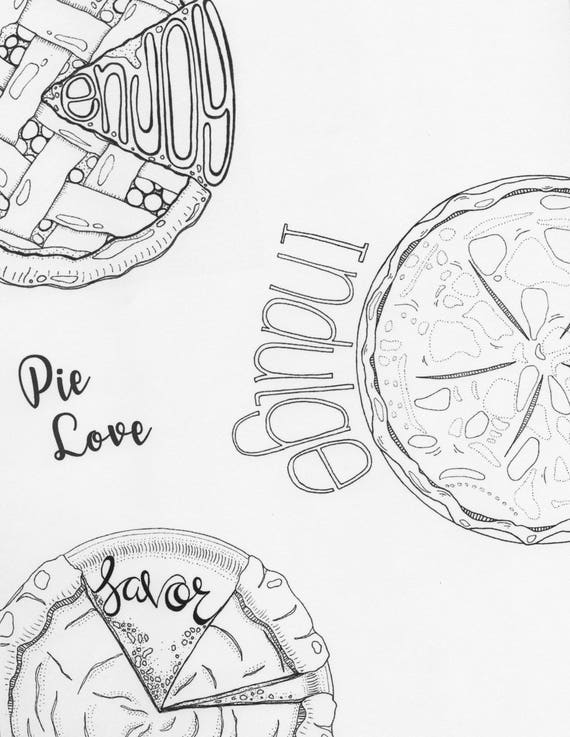 Pie Coloring Pages 3 Pack Thanksgiving Coloring Autumn Coloring Adult Coloring Page Cherry Pie Art Fall Art Pumpkin Pie Apple Pie Art