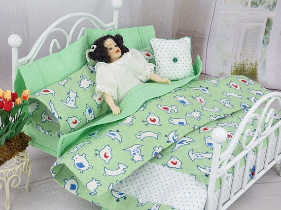 Dolls House Dolls Bed Miniature Bedding Set Duvet Cover Set Handmade