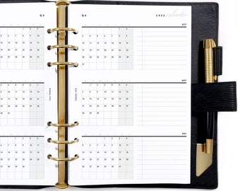 A5 Yearly Set, Dated Quarterly Calendar, Undated Biannual / Quarterly Overviews, Printable Planner Inserts [PDF File] v2022