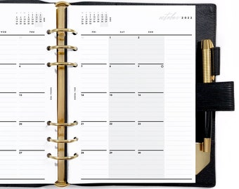 A5 Dated Monthly Mo2P, Printable Planner Inserts [PDF File] v2022
