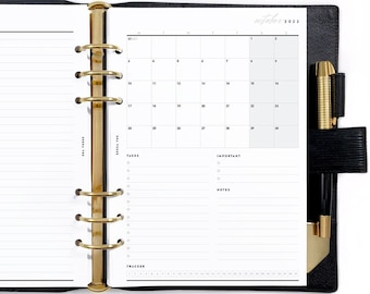 A5 Dated Calendar Mo1P, Printable Planner Inserts [PDF File] v2022