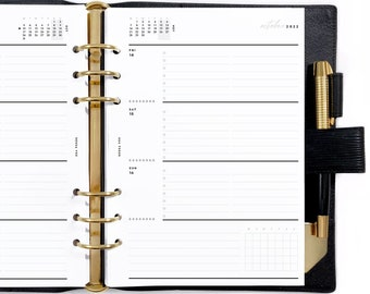 A5 Dated Horizontal Weekly Wo2P, Printable Planner Inserts [PDF File] v2022