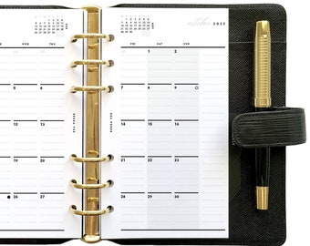 Personal Dated Monthly Calendar Mo2P, Printable Planner Inserts [PDF File] v2022