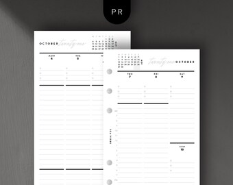 Personal Size - 2021 Weekly Vertical, Week on 2 Pages, Printable Planner Inserts [PDF File]