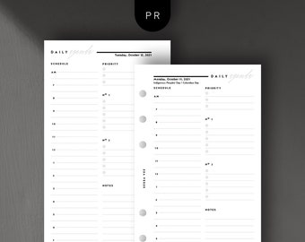 Personal Size - Dated Daily Agenda, Day on 1 Page, Hourly, Printable Planner Inserts [PDF File] v2021
