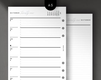 A5 - 2021 Weekly Wo1P, Week on 1 Page with Notes, Printable Planner Inserts [PDF File]
