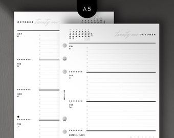A5 - 2021 Weekly Horizontal, Week on 2 Pages, Printable Planner Inserts [PDF File]