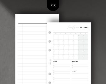 Personal Size - 2021 Mo1P Calendar View, Monthly, Month per Page, Printable Planner Inserts [PDF File]