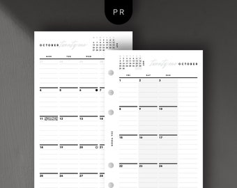 Personal Size - 2021 Monthly Calendar, Month on 2 Pages, Printable Planner Inserts [PDF File]
