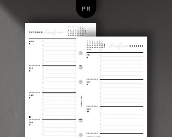 Personal Size - 2021 Weekly Horizontal, Week on 2 Pages, Printable Planner Inserts [PDF File]