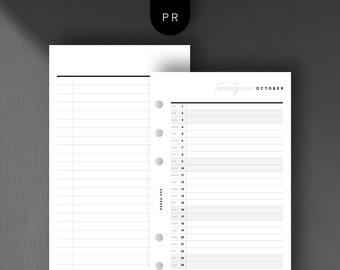 Personal Size - 2021 Mo1P List View, Monthly, Day per Line, Printable Planner Inserts [PDF File]