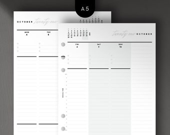 A5 - 2021 Weekly Vertical, Week on 2 Pages, Printable Planner Inserts [PDF File]