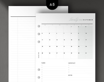 A5 - 2021 Mo1P Calendar View, Monthly, Month per Page, Printable Planner Inserts [PDF File]