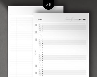 A5 - 2021 Mo1P List View, Monthly, Day per Line, Printable Planner Inserts [PDF File]