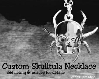 MADE TO ORDER - Legend of Zelda Skulltula necklace - Ocarina of Time -Spider skull necklace