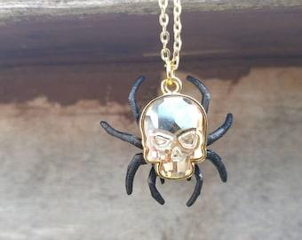 Legend of Zelda Gold Skulltula necklace - Ocarina of Time -Spider skull necklace