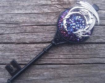 Dragon Key Necklace, Key to the Dragon's Horde, Dragon's Treasure, Sleeping Dragon, Purple Dragon, Poison Dragon