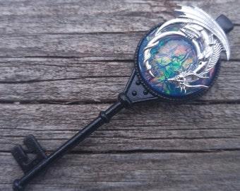 Dragon Key Necklace, Key to the Dragon's Horde, Dragon's Treasure, Dragon's Breath, Sleeping Dragon, Blue Fire Opal, Fantasy Key Jewelry