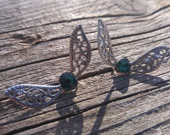 Emerald Swarovski - Fairy Wings - Legend of Zelda Inspired - Harry Potter Inspired - Hair pins
