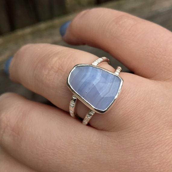 REAL 925 STERLING SILVER BLUE LACE AGATE WOMEN/'S HEAVY HANDMADE FINE BIG RING