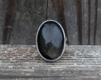Goldsheen Obsidian Ring - Goldsheen ring - Obsidian Ring - Sterling Silver - Oval - Statement Ring - Double Hammered Band - Silver - Black
