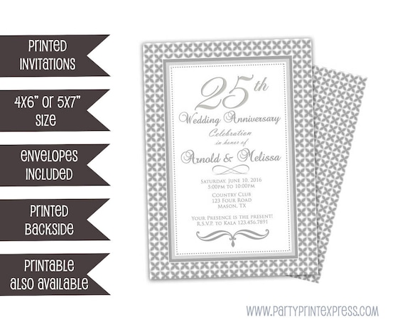 25th anniversary invitations surprise wedding anniversary party