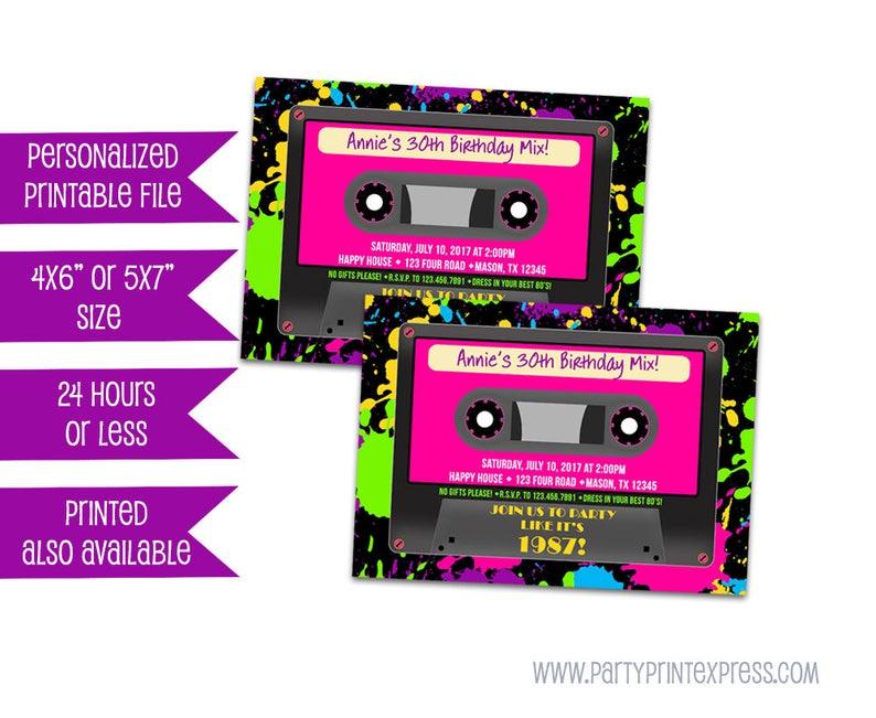 Printable Cassette Tape Invitations Neon 80s Birthday Etsy