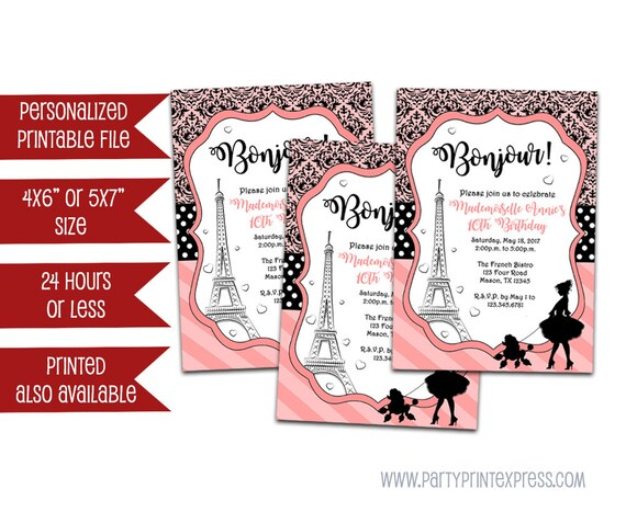 Printable Paris Invitation