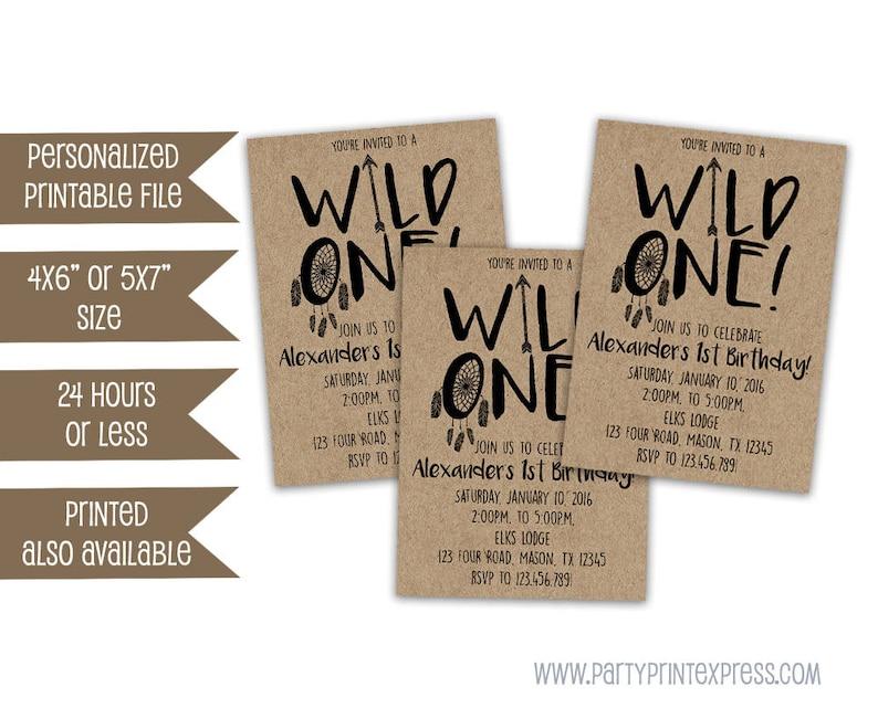 Printable Wild One Invitations Boy 1st Birthday
