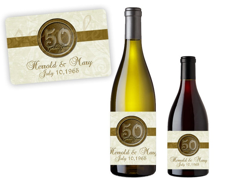 Golden Anniversary Party Decor Custom Champagne Labels Gold  50th Wedding Anniversary Wine Labels 50th Anniversary Party Favors