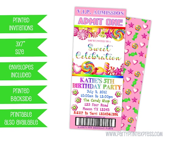 Candy Birthday Invitation Candy Ticket Invitations Pink Candy