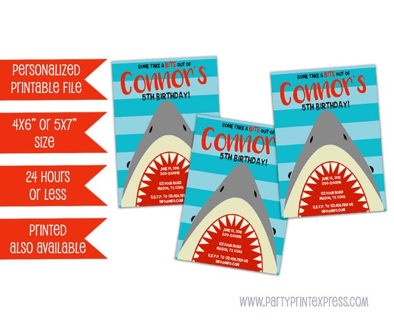 printable shark invitation shark party shark birthday invitation