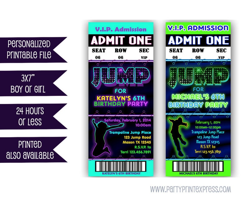 Printable Jump Birthday Invitation Trampoline Park Party Etsy