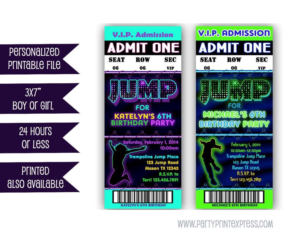 Printable Jump Birthday Invitation Trampoline Park Party