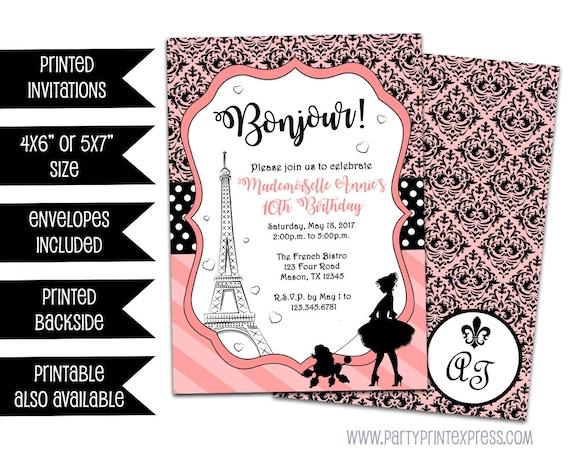 Paris Invitations Paris Birthday Invitation Pink Black Damask