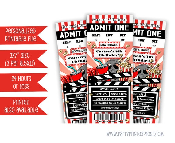 Printable Movie Ticket Invitation Movie Birthday Party Invite