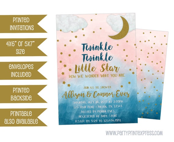 Gender reveal baby shower invitations twinkle twinkle baby etsy image 0 filmwisefo