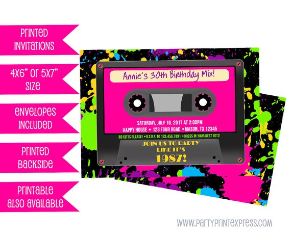 All-Ways Design Back to 80s Retro Neon Party Invitations Glossy Finish with Envelopes Eighties Blue Invites Music retro
