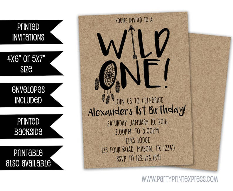 Wild One Birthday Invitation 1st