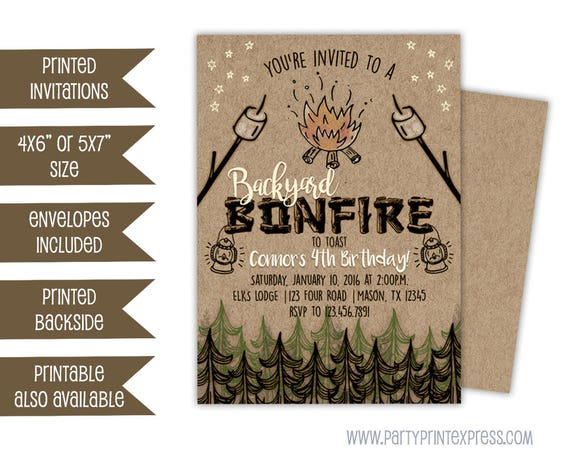 bonfire invitations bonfire birthday invitation bonfire etsy