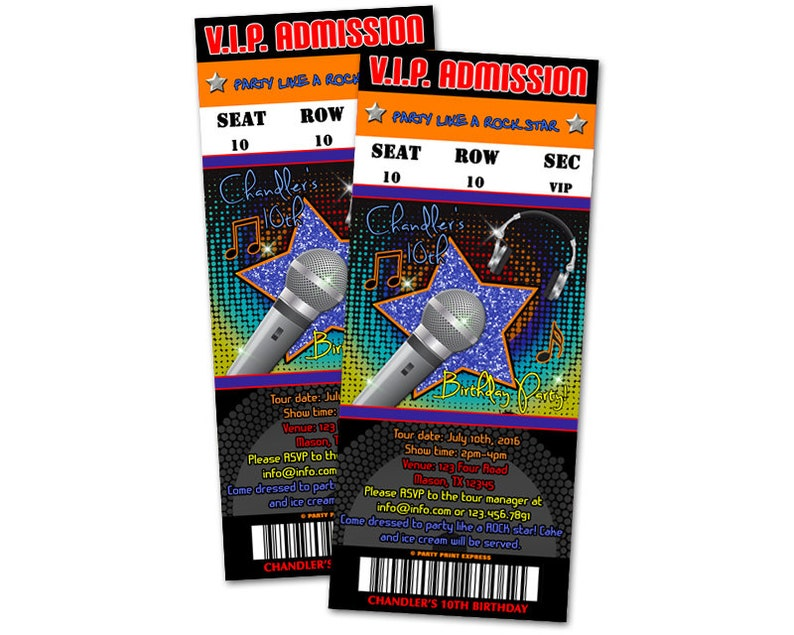 Boy Hip Hop Admission Ticket Invitations - Rockstar Birthday Invites - Boys  Popstar Birthday Party Invitation - Ticket Invite - VIP Pass